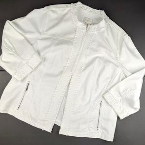 Chico's White Denim Jacket Frayed Bling Open Front